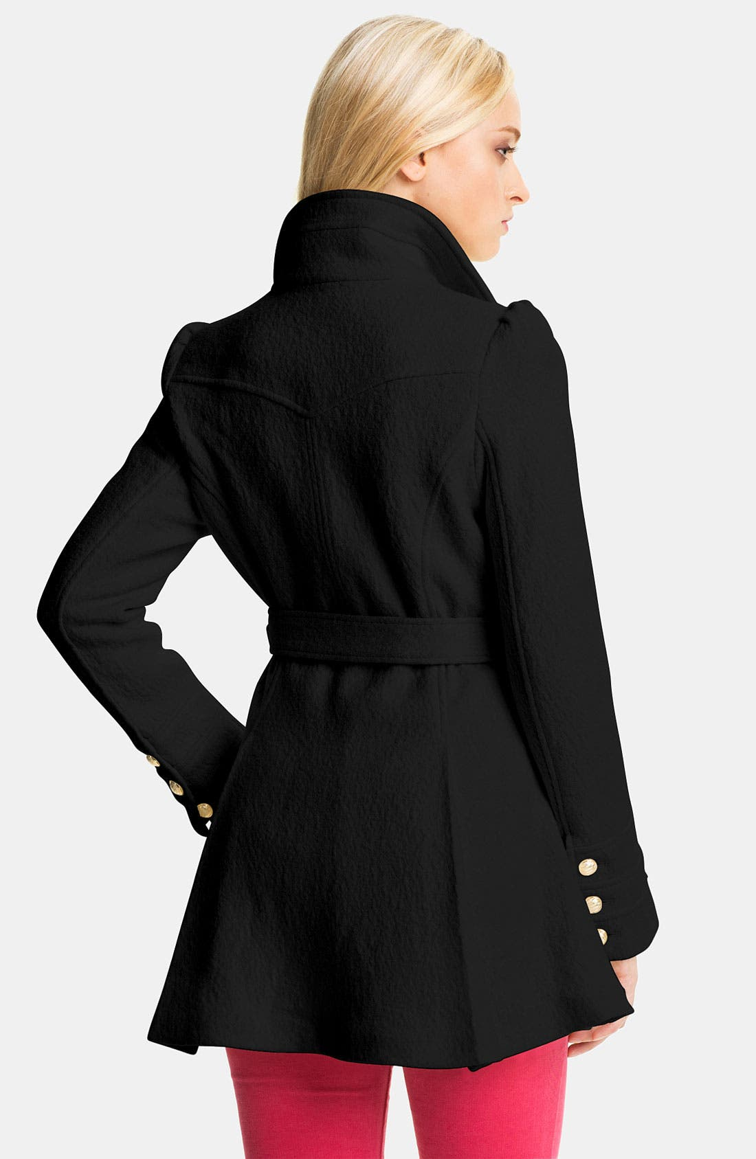 Alternate Image 2  - bebe Ruffle Trim Belted Coat