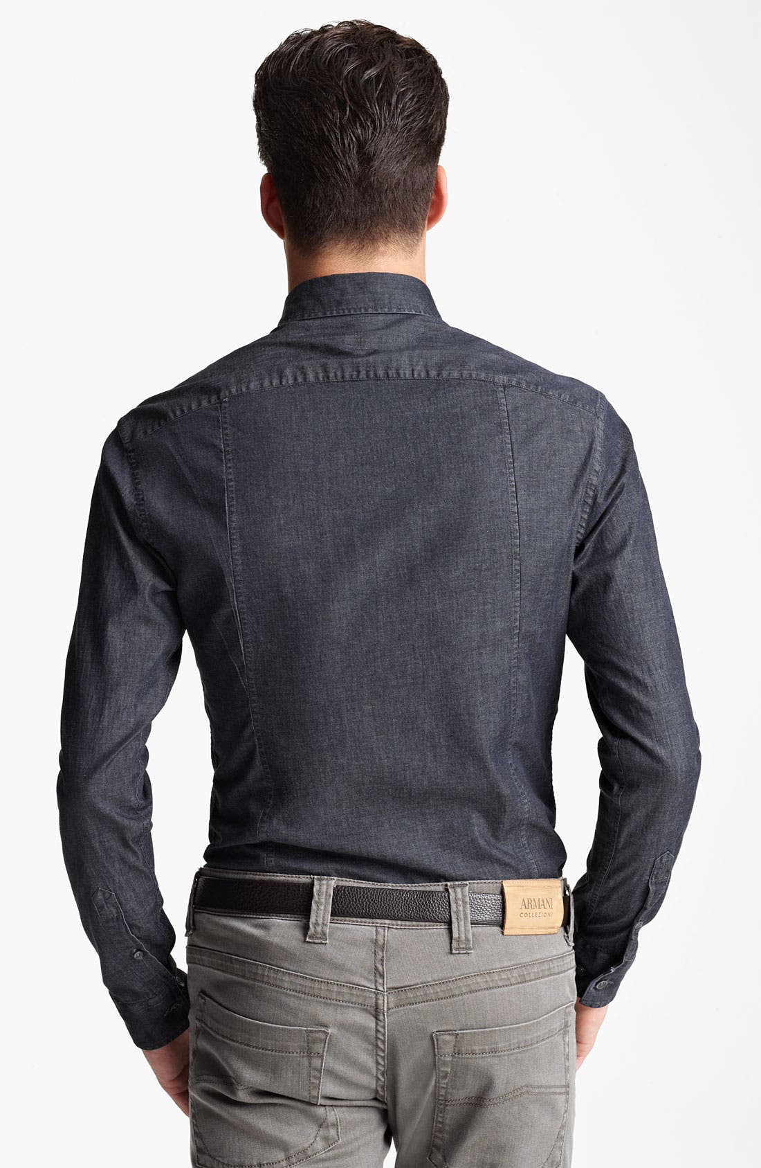 Alternate Image 2  - Armani Collezioni Chambray Woven Shirt
