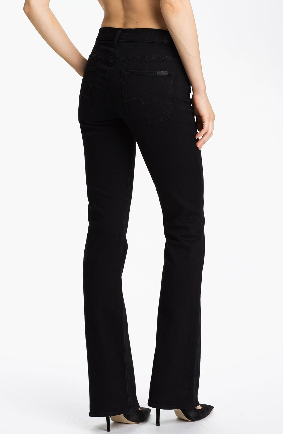Alternate Image 2  - 7 For All Mankind® Bootcut Stretch Jeans (Black)