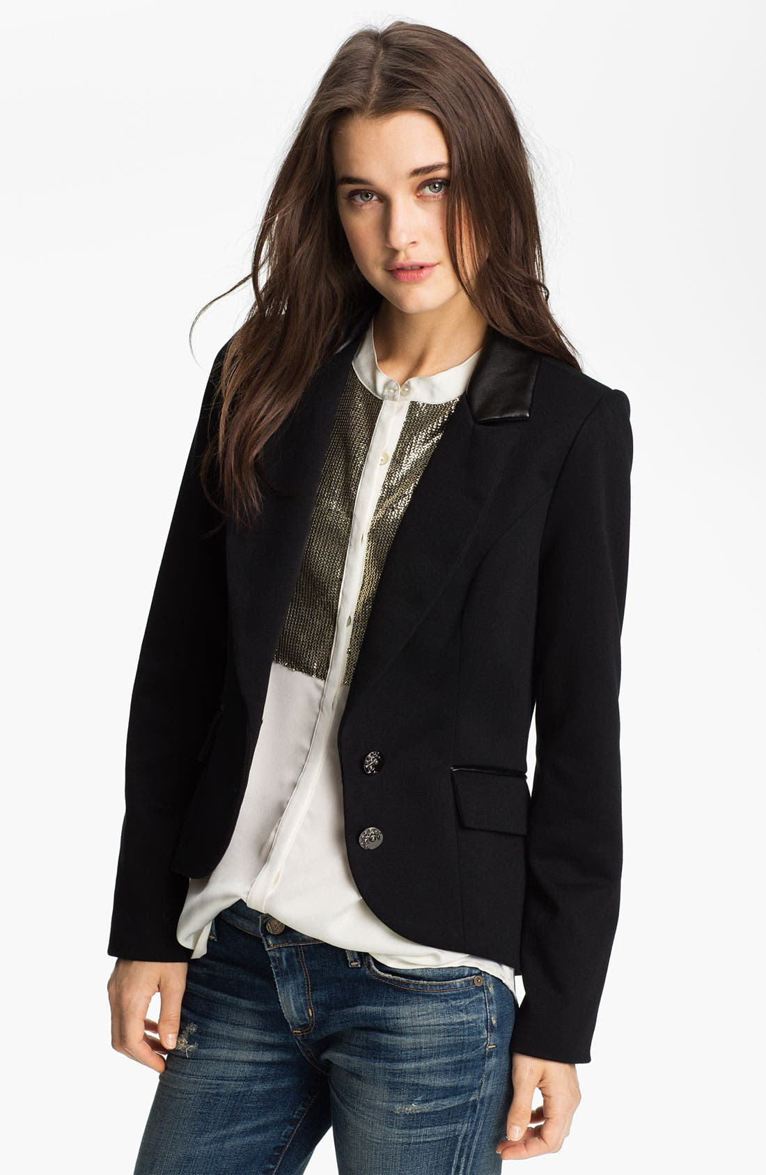 Alternate Image 1 Selected - Willow & Clay Faux Leather Trim Blazer