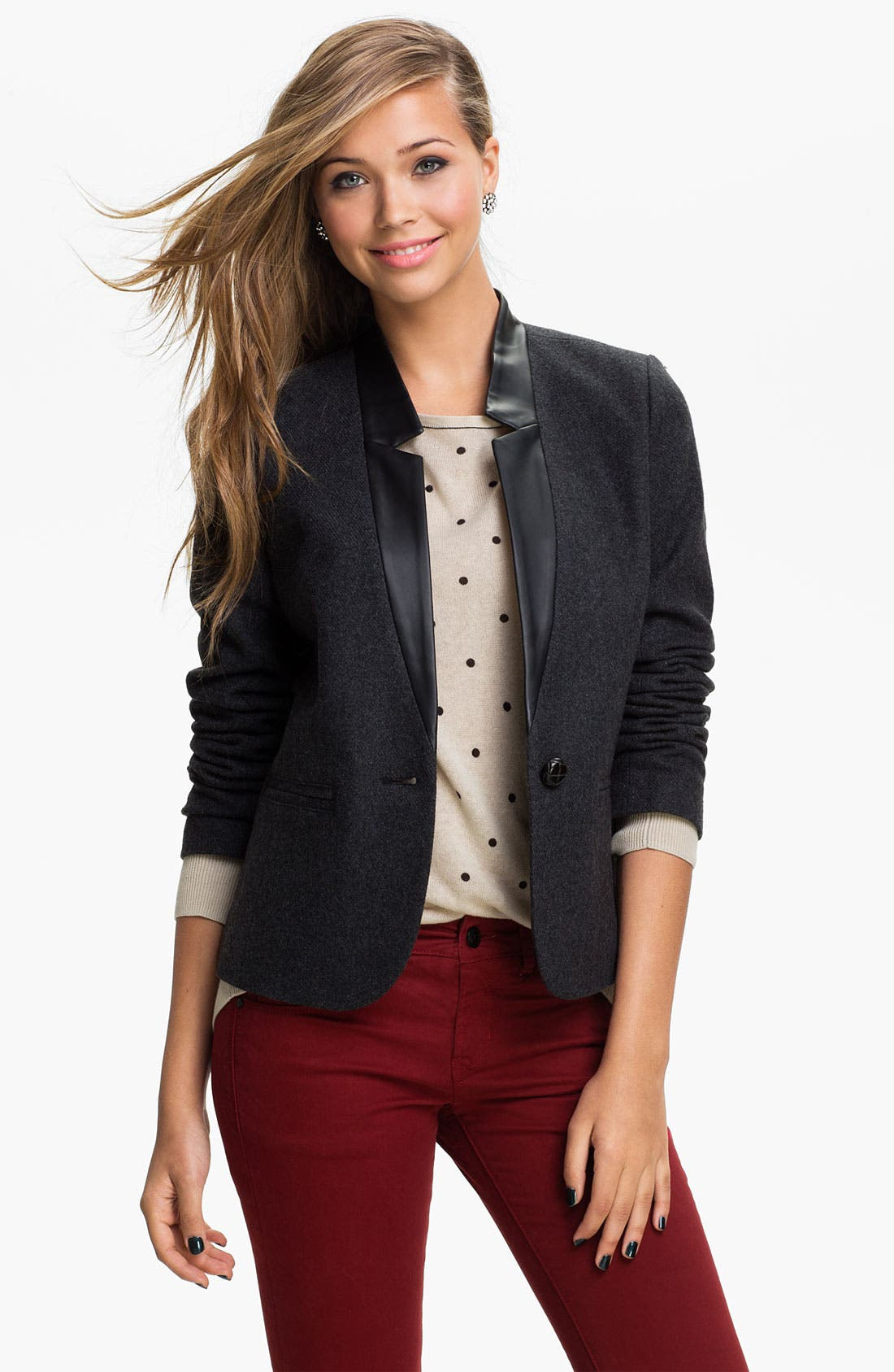 Main Image - BP. Faux Leather Collar Blazer (Juniors)