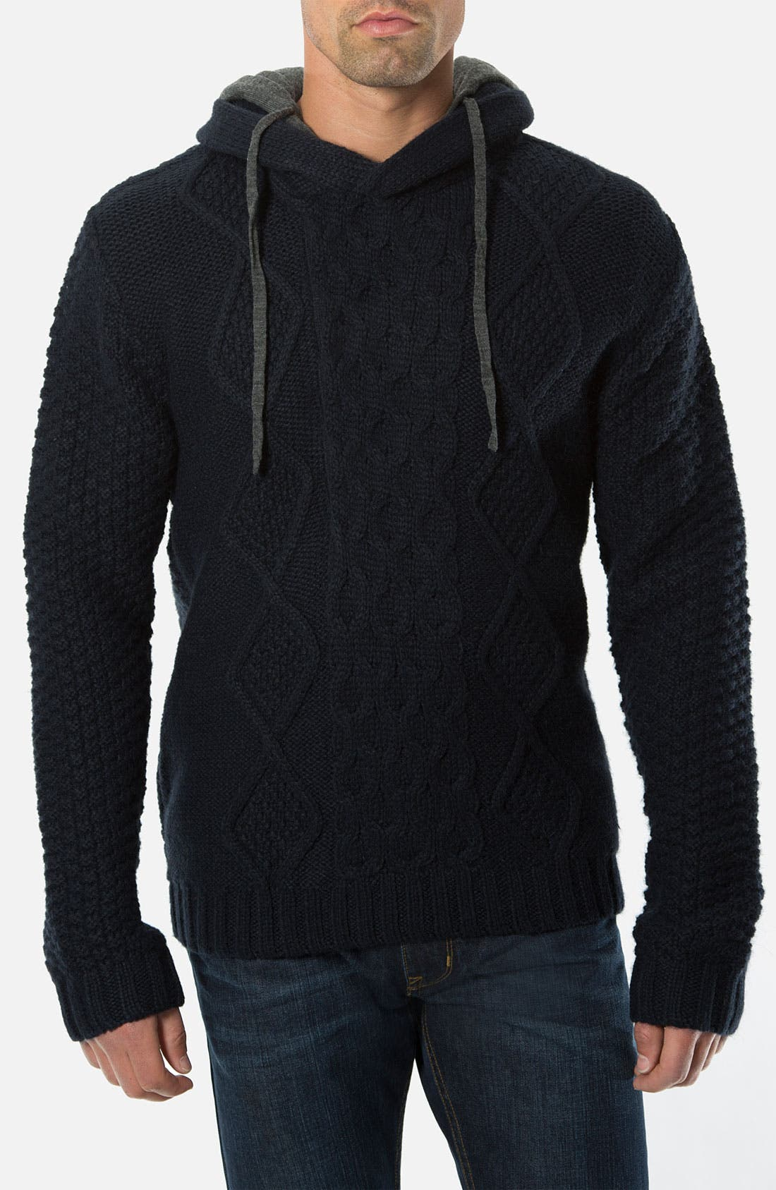 Main Image - 7 Diamonds 'Portillo' Cable Knit Sweater with Removable Hood