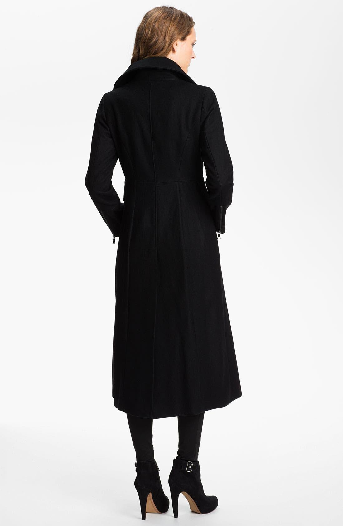 Alternate Image 2  - GUESS Zip Front Wool Blend Coat (Online Exclusive)