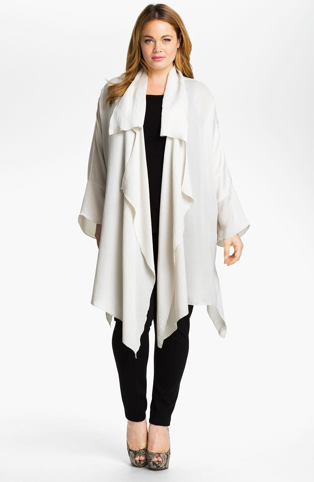 Alternate Image 1 Selected - Out of Ashes Long Cascade Jacket (Plus)