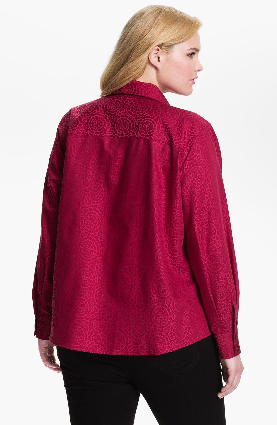 Alternate Image 2  - Foxcroft 'Chrysanthemum' Wrinkle Free Shaped Shirt (Plus)