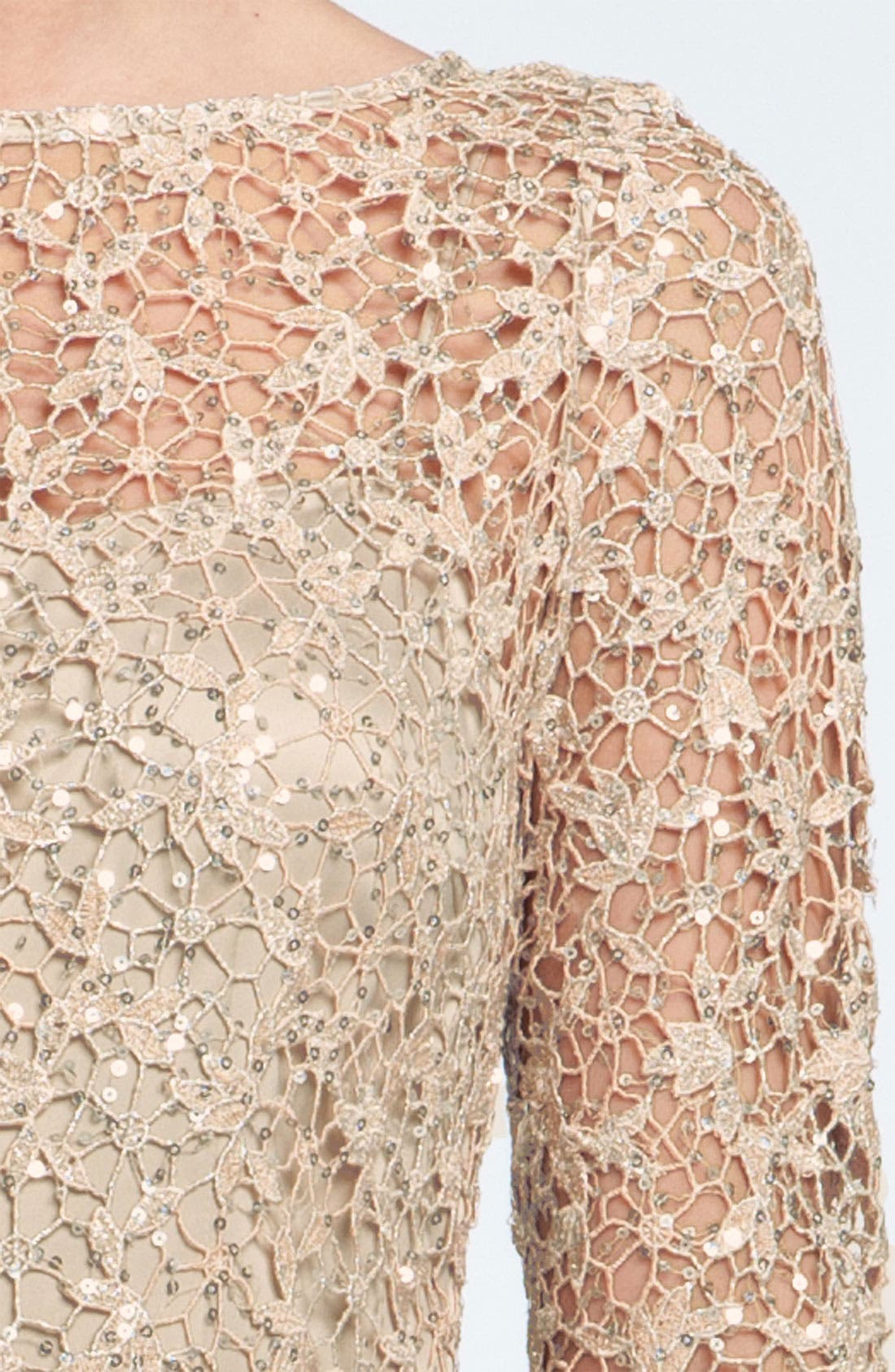 Alternate Image 3  - Kay Unger Sequin & Lace Sheath Dress (Petite)
