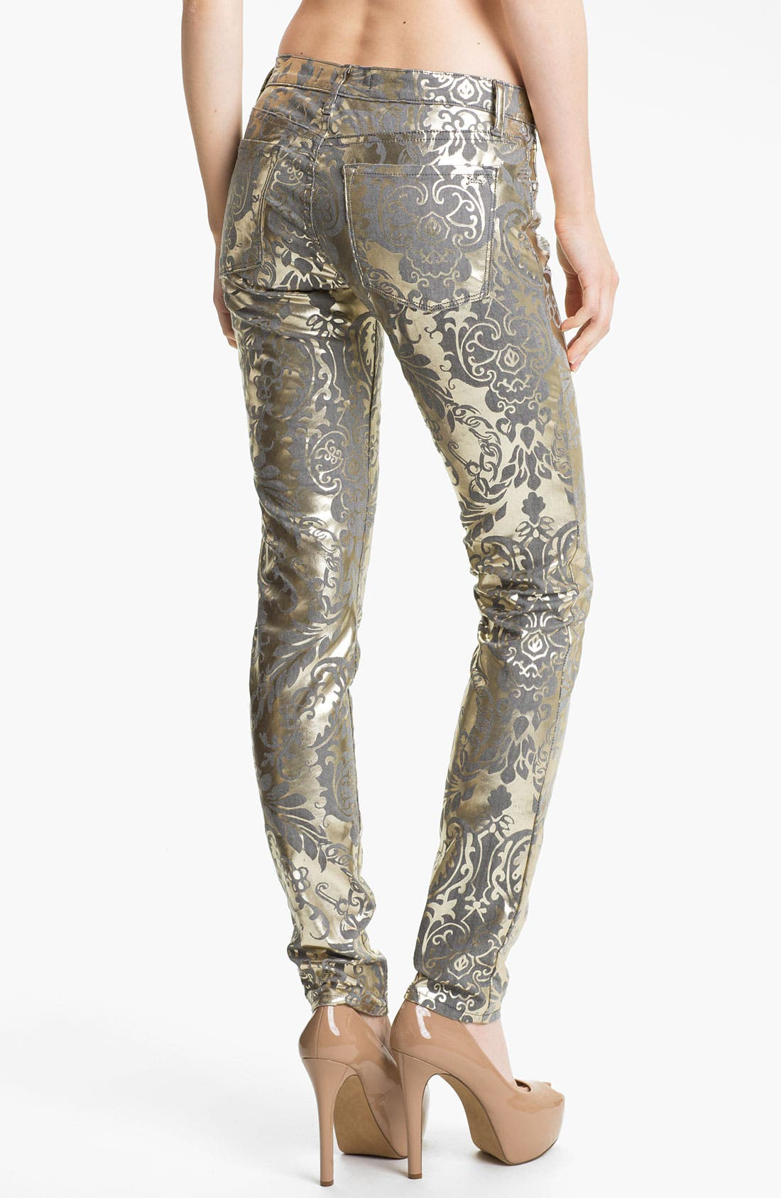 Alternate Image 2  - Juicy Couture Foil Brocade Skinny Jeans (Pale Gold)