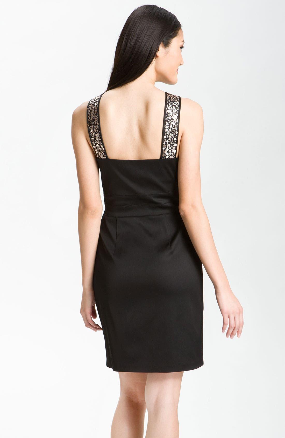 Alternate Image 2  - Donna Ricco Sequin Strap Satin Halter Dress (Petite)