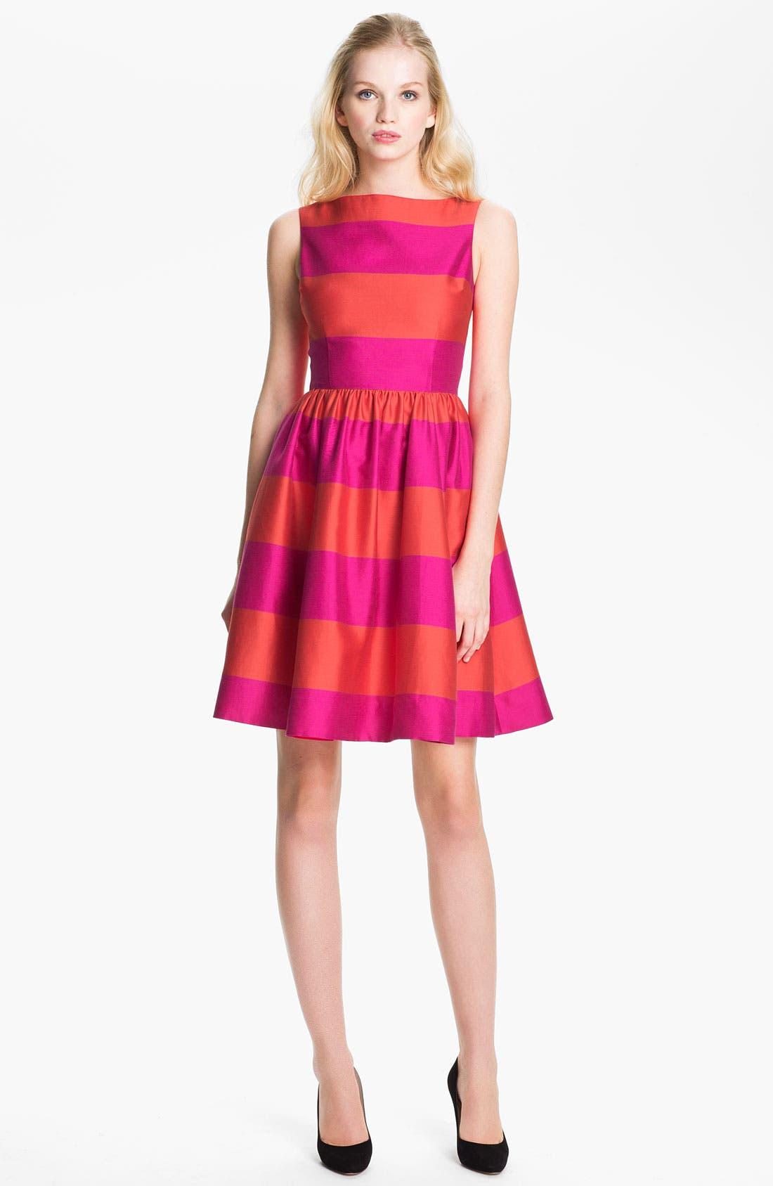 'carolyn' stripe fit & flare dress,                         Main,                         color, Vivid Snapdragon