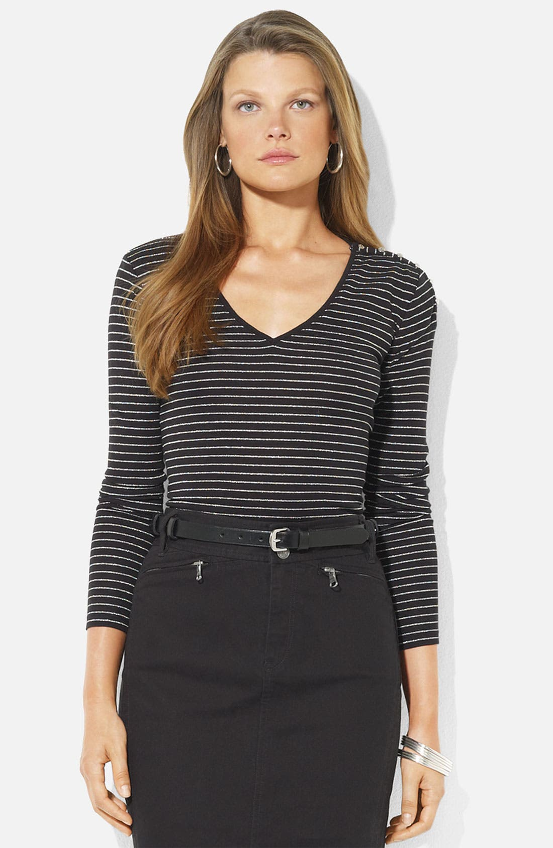 Alternate Image 1 Selected - Lauren Ralph Lauren V-Neck Stripe Top (Petite)