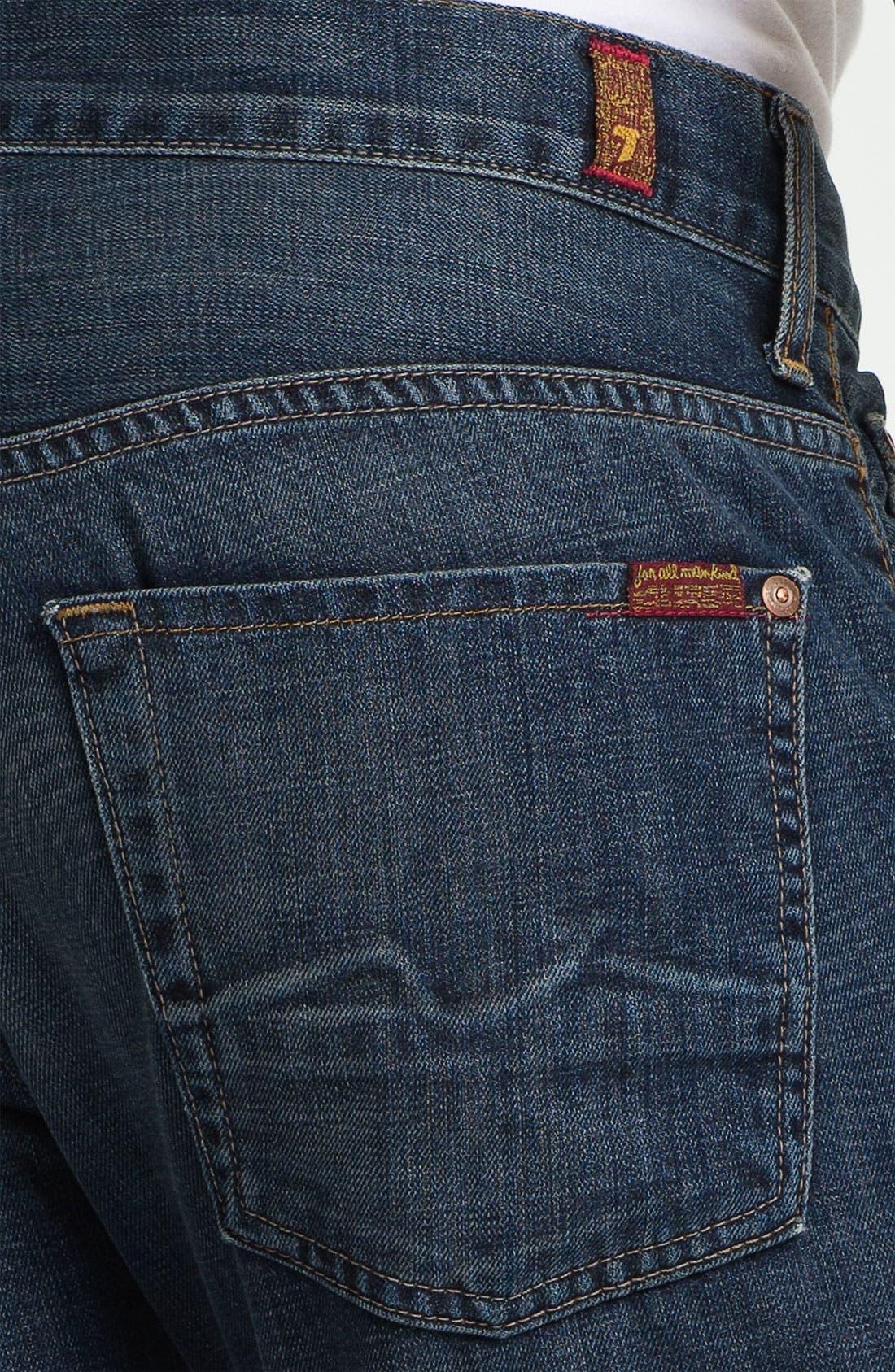 Alternate Image 4  - 7 For All Mankind® 'Brett' Bootcut Jeans (Worn Blue)