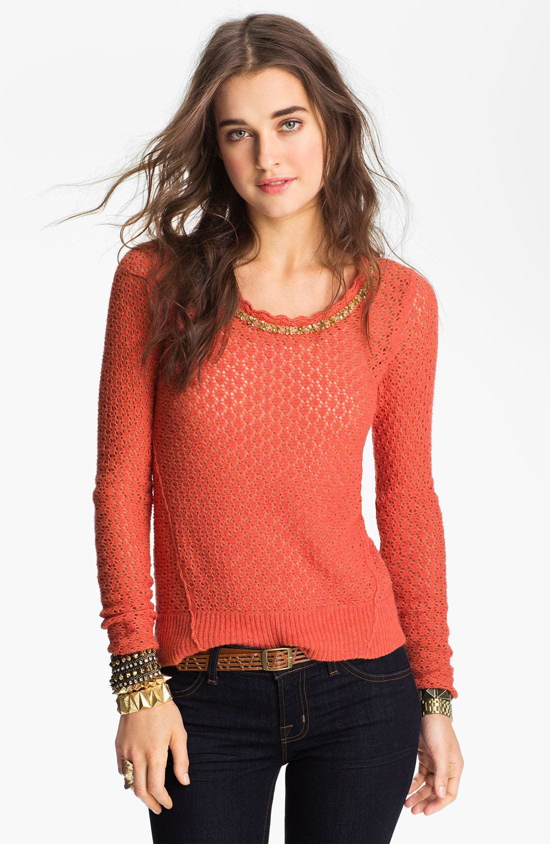Main Image - Free People Tie Back Pointelle Sweater