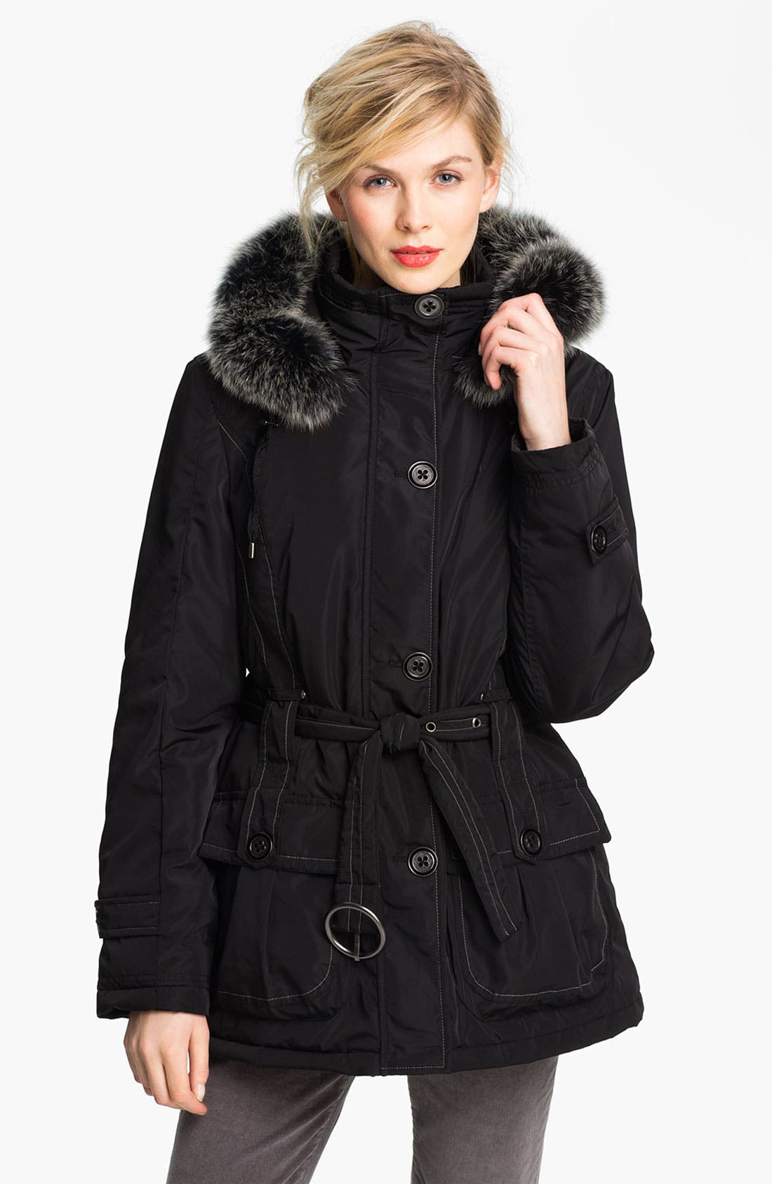Main Image - Sachi Belted Parka with Genuine Fox Fur