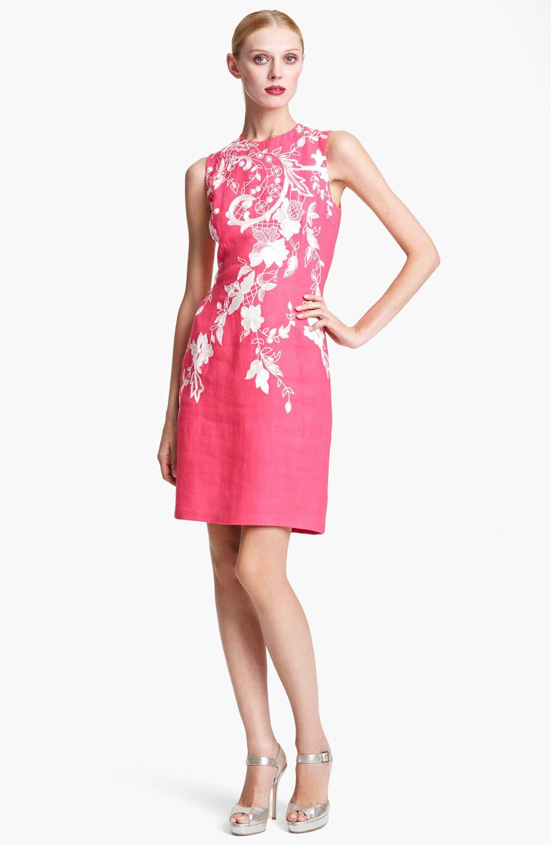 Main Image - Naeem Khan Embroidered Linen Sheath Dress