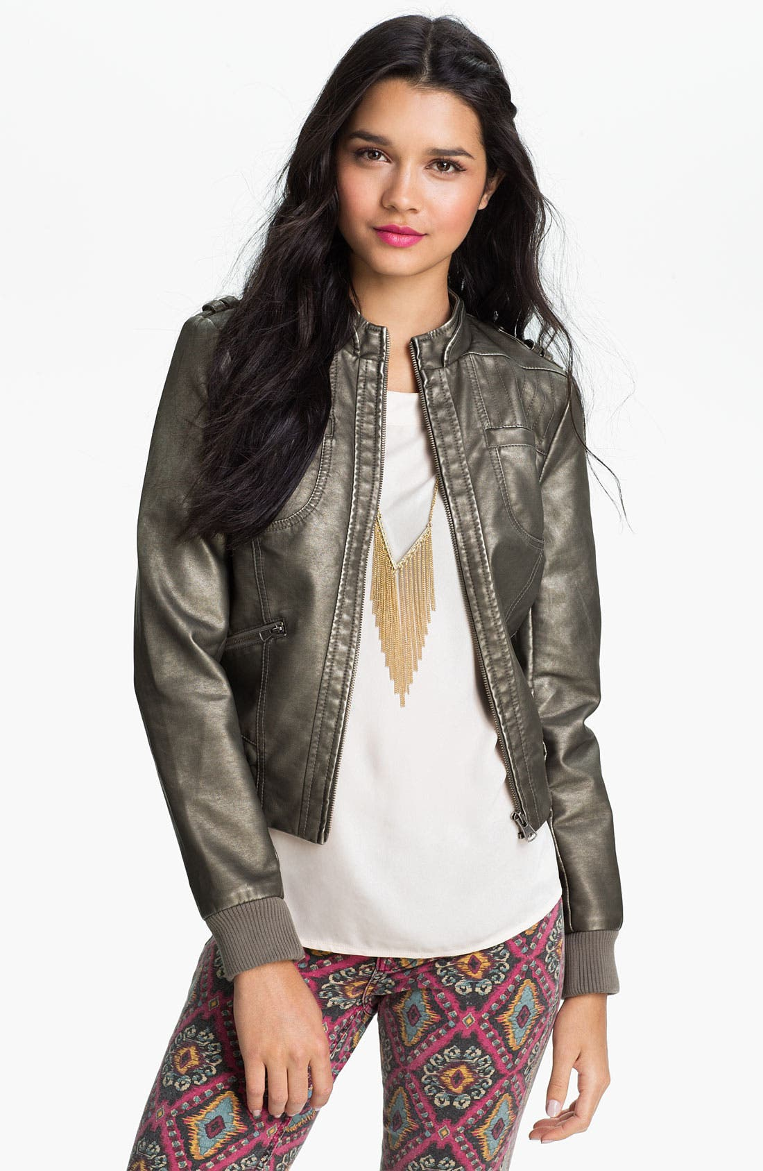 Alternate Image 1 Selected - Collection B Metallic Faux Leather Moto Jacket (Juniors)