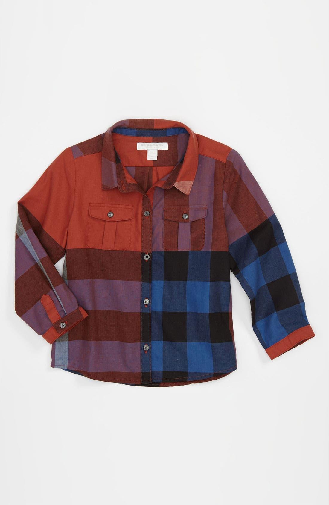 Main Image - Burberry Check Print Shirt (Infant)