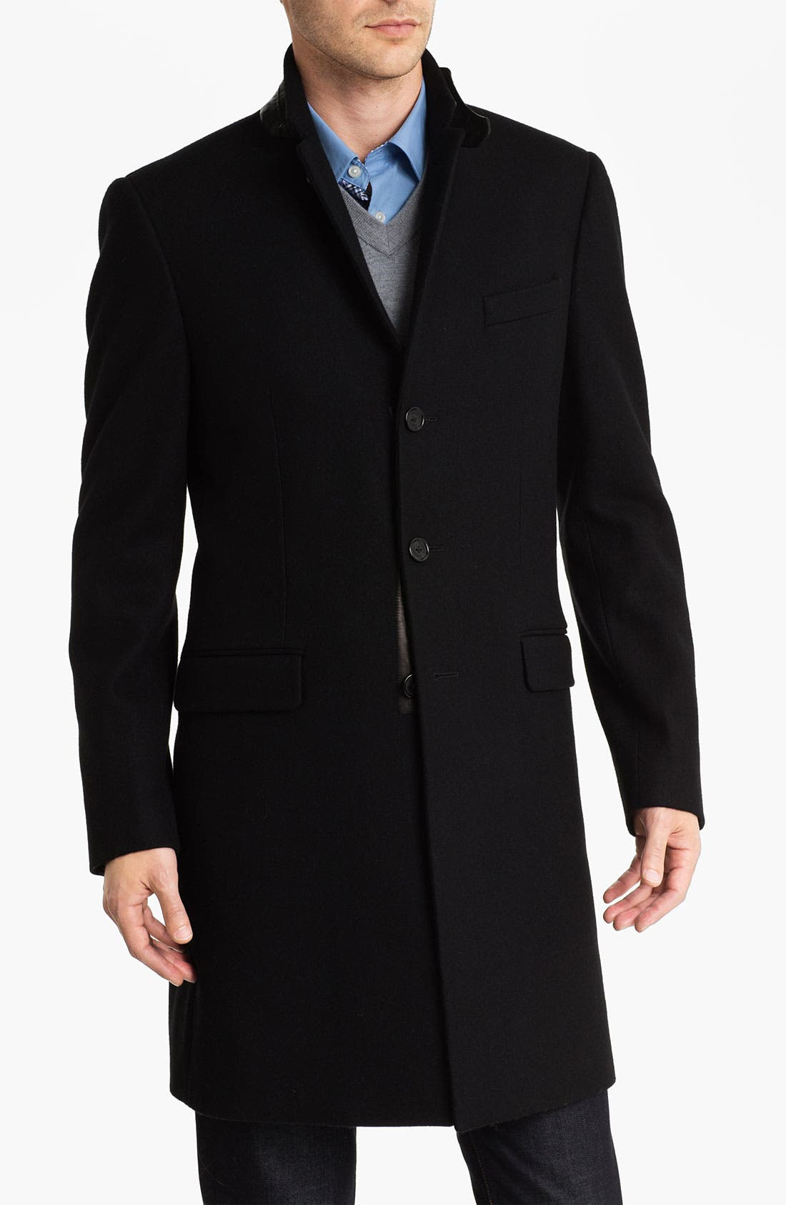 Melton Topcoat with Leather Trim,                             Main thumbnail 1, color,                             Black