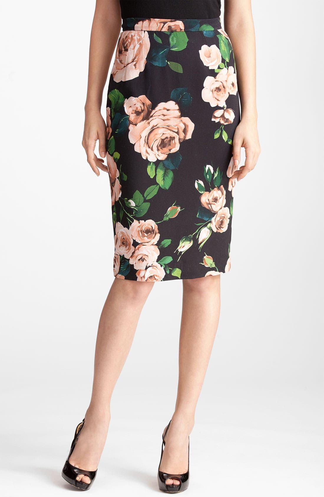Rose Print Stretch Cady Skirt,                         Main,                         color, Black Print