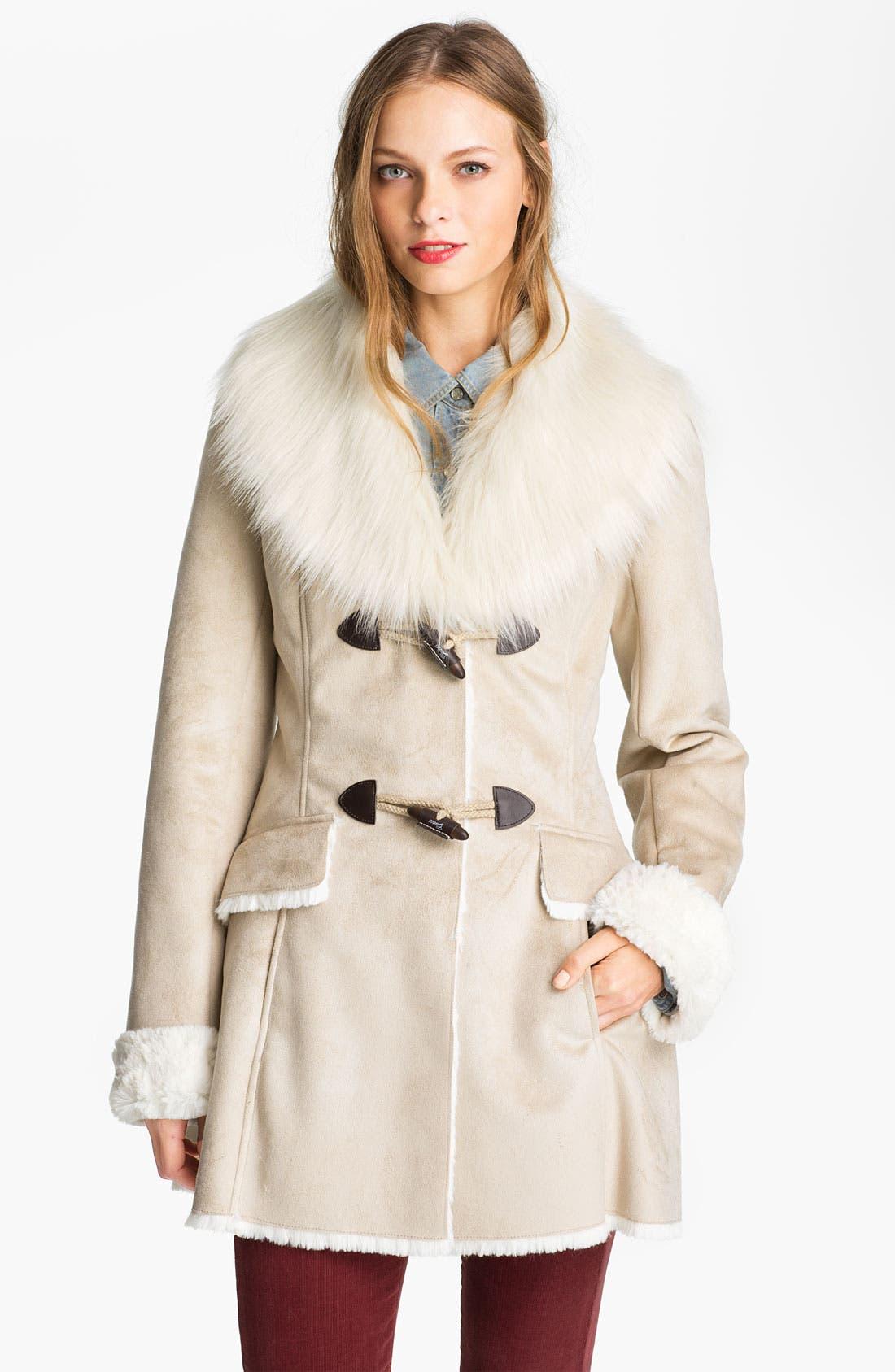 Main Image - GUESS Faux Shearling Walking Coat