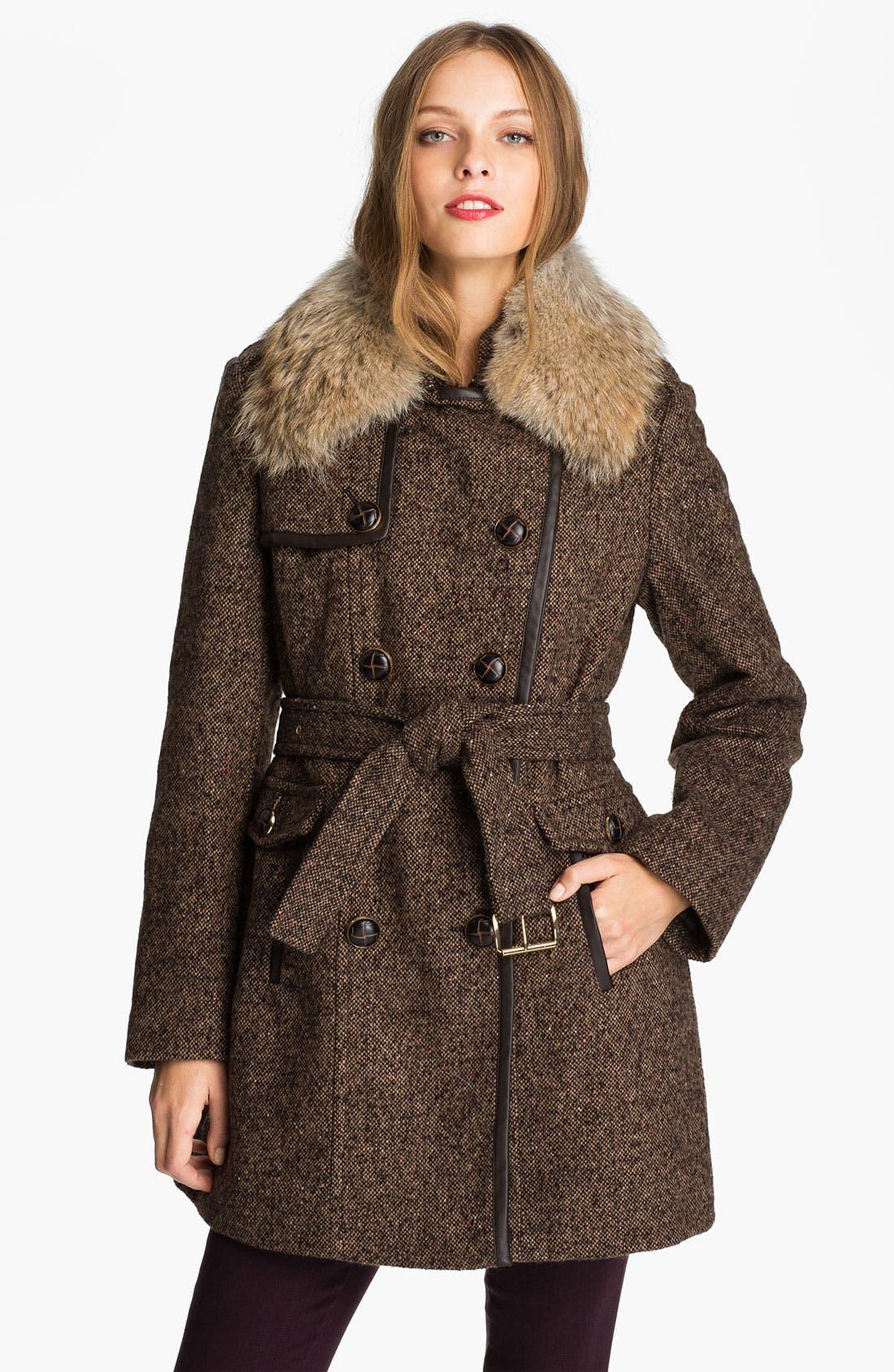 Main Image - MICHAEL Michael Kors Belted Tweed Coat with Genuine Coyote Fur