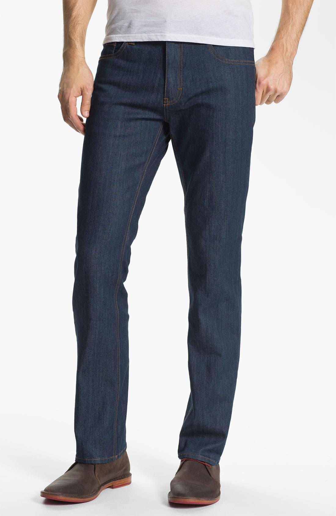 Alternate Image 2  - RVCA Slim Straight Leg Jeans (Classic Blue)