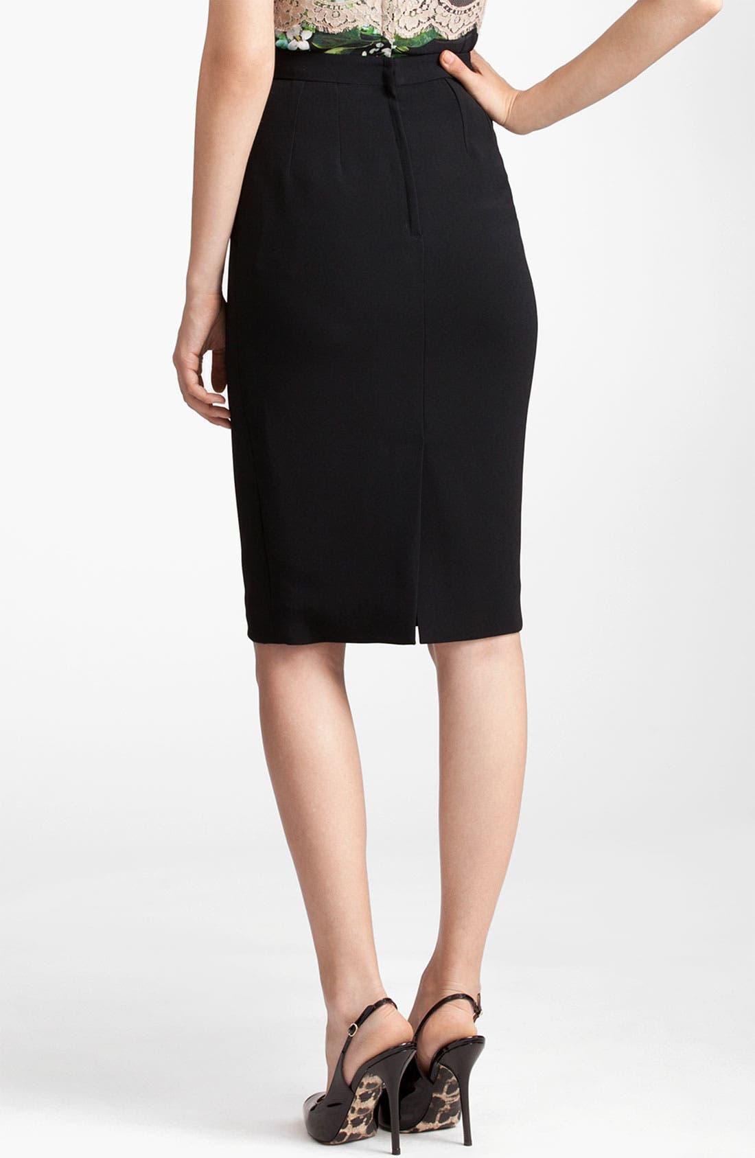 Alternate Image 2  - Dolce&Gabbana Raw Edge Stretch Cady Skirt