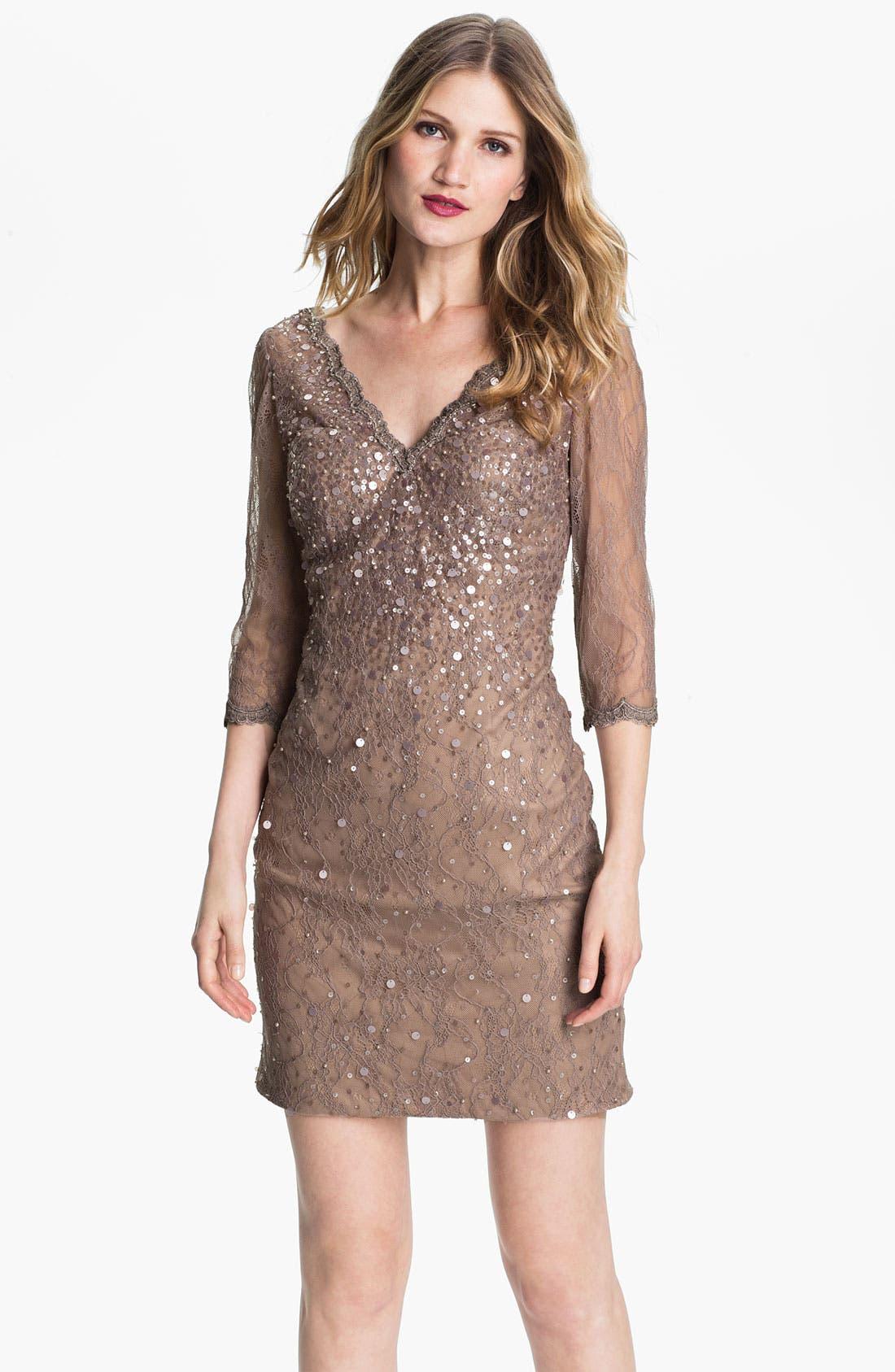 Alternate Image 1 Selected - Kathy Hilton Double V-Neck Embellished Lace Sheath Dress