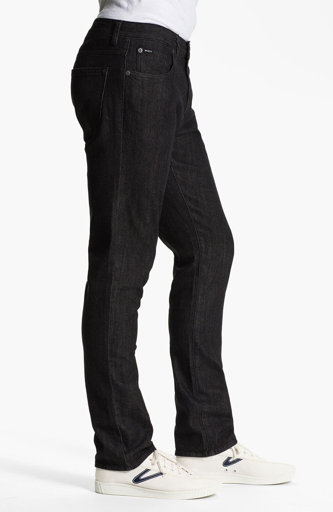 Alternate Image 3  - RVCA 'Daggers' Slim Leg Jeans (Black)
