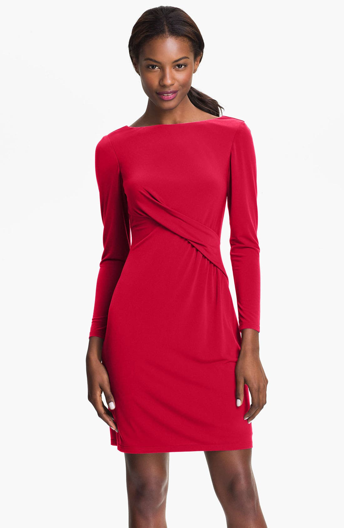 Alternate Image 1 Selected - Vince Camuto Pleat Front Jersey Sheath Dress