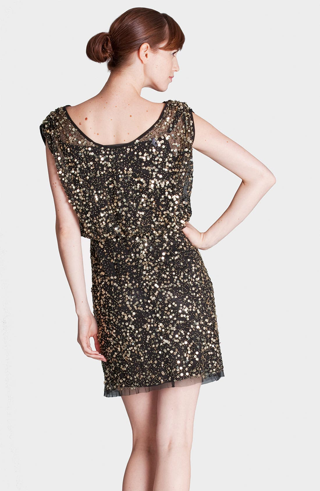Alternate Image 2  - JS Collections Scoop Neck Sequin Mesh Blouson Dress