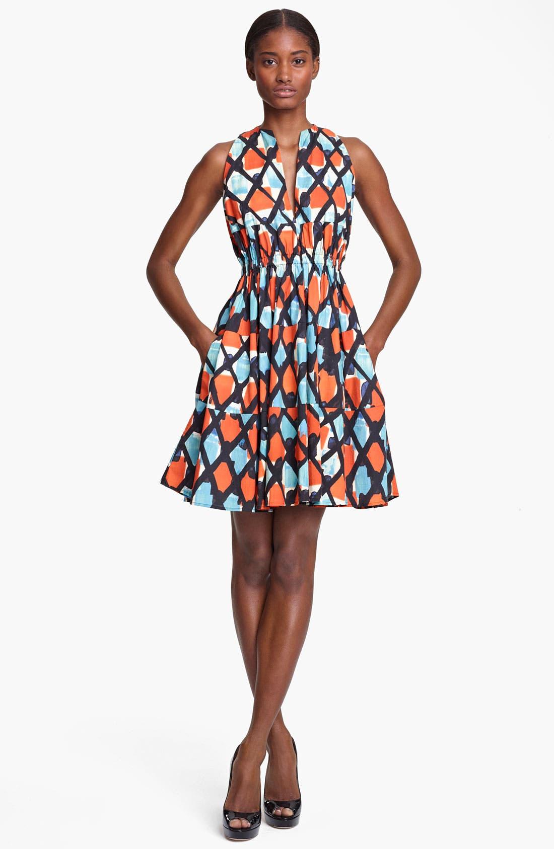 Main Image - Thakoon Print Cinched Waist Poplin Dress
