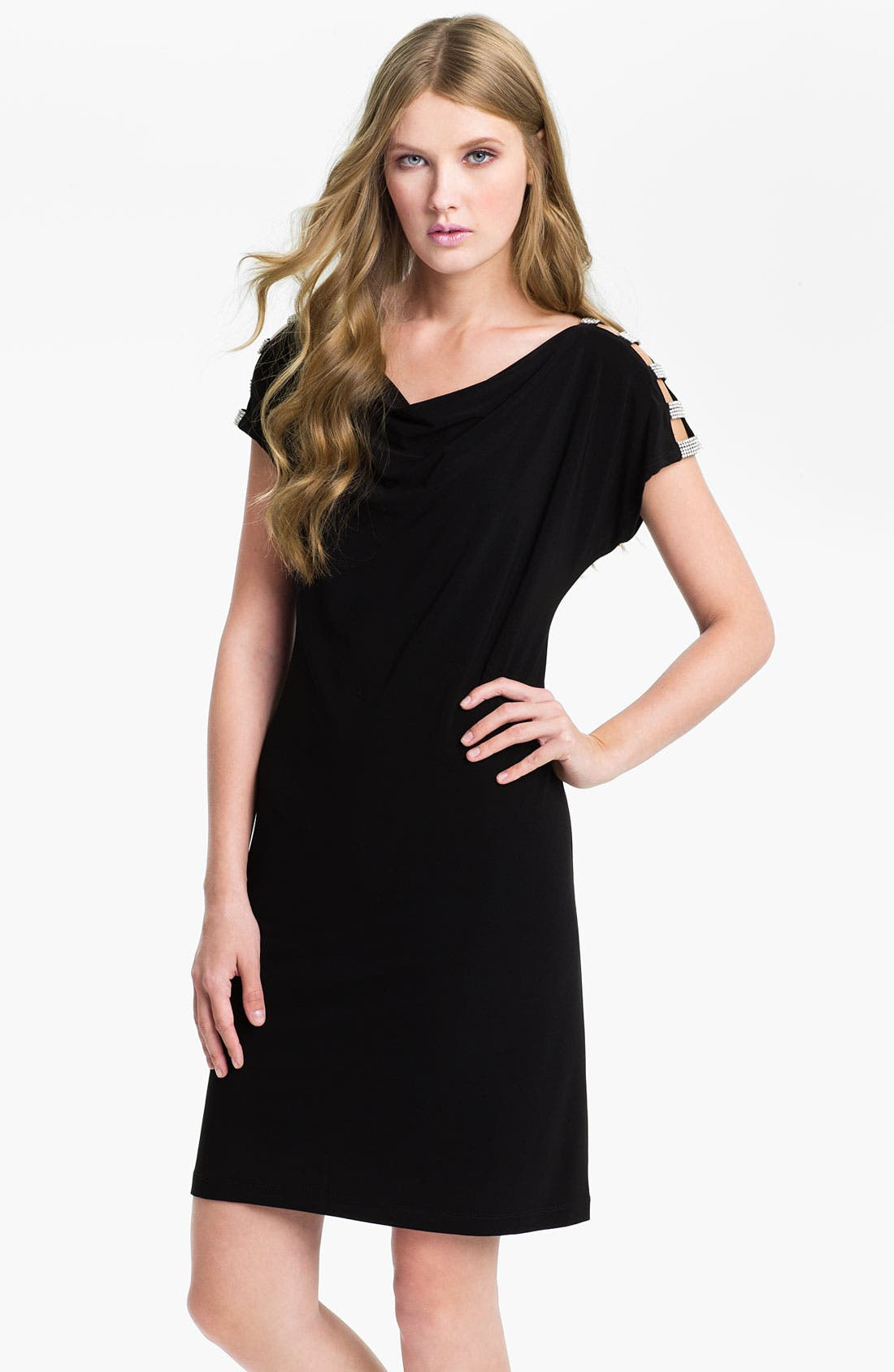 Main Image - Pisarro Nights Embellished Shoulder Trim Jersey Dress