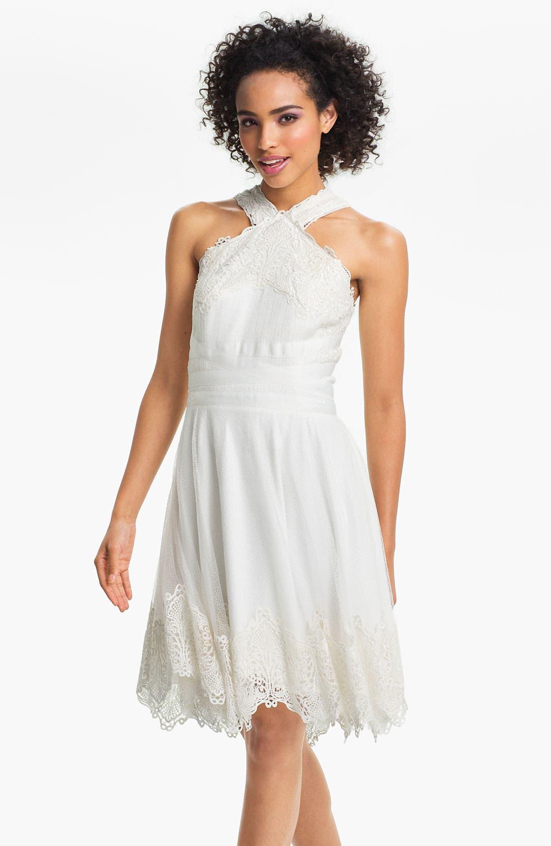 Alternate Image 1 Selected - Tadashi Shoji V-Strap Lace & Tulle Handkerchief Dress