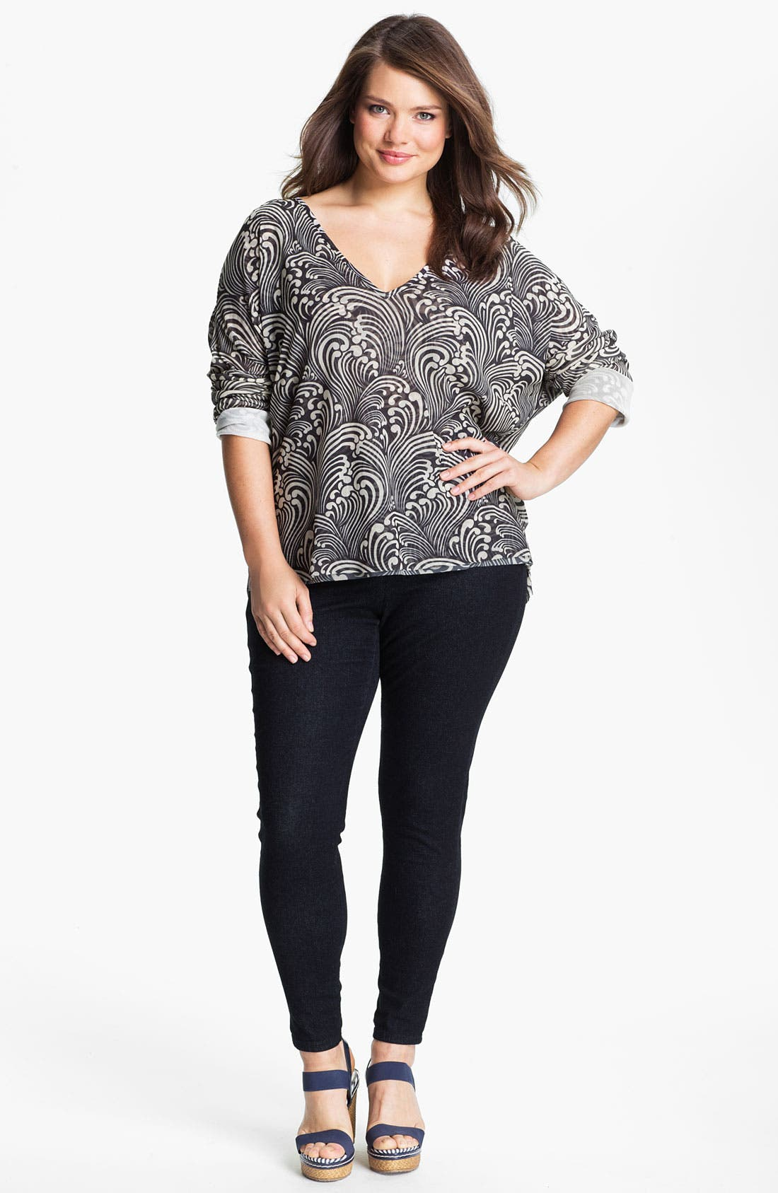 Main Image - Sweet Pea by Stacy Frati Mesh V-Neck Top (Plus)