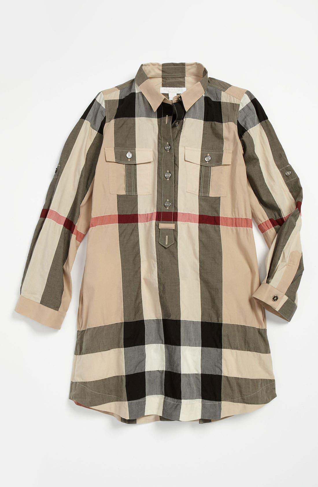 Alternate Image 2  - Burberry Check Print Shirtdress (Big Girls)