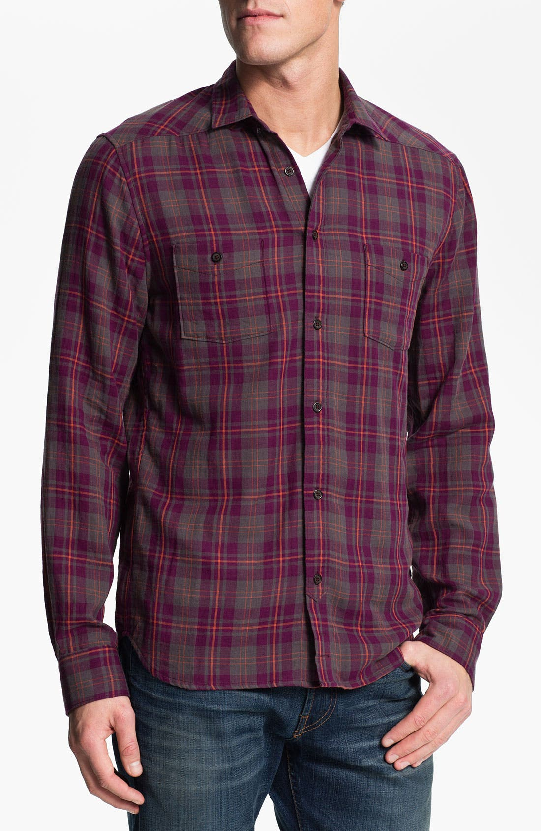 Alternate Image 1 Selected - 7 For All Mankind® Plaid Double Face Shirt