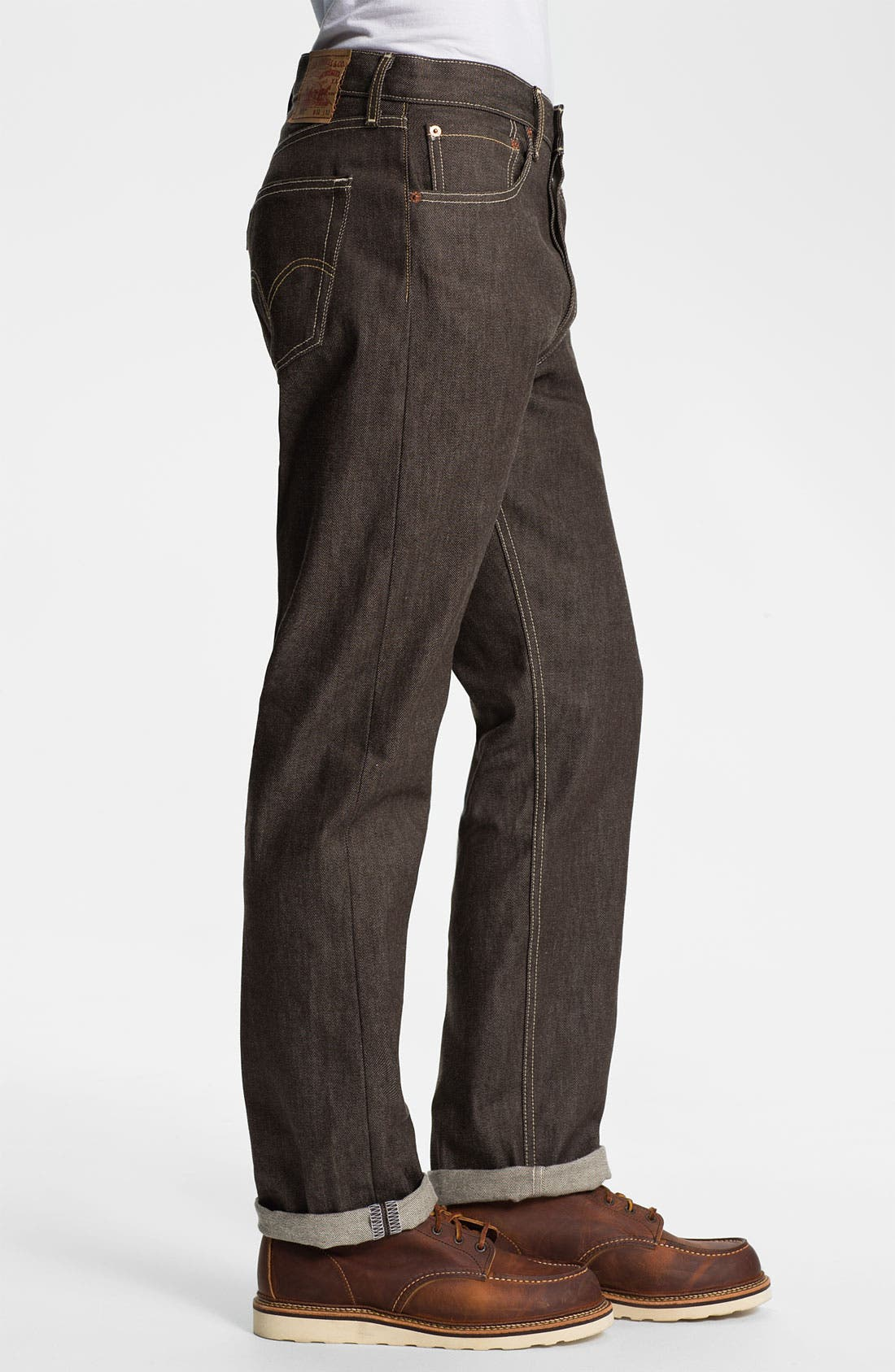 Alternate Image 3  - Levi's® '501®' Shrink-To-Fit Straight Leg Jeans (Brown Rigid)