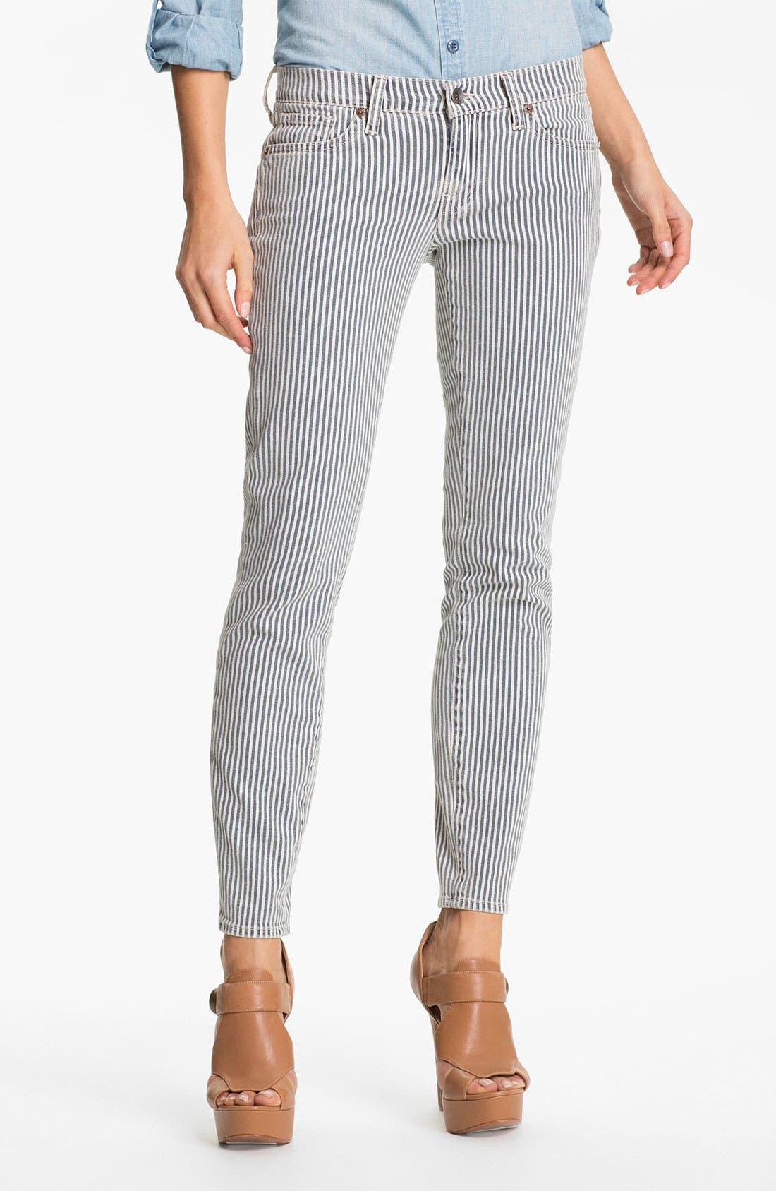 Main Image - Lucky Brand 'Charlie' Stripe Skinny Jeans