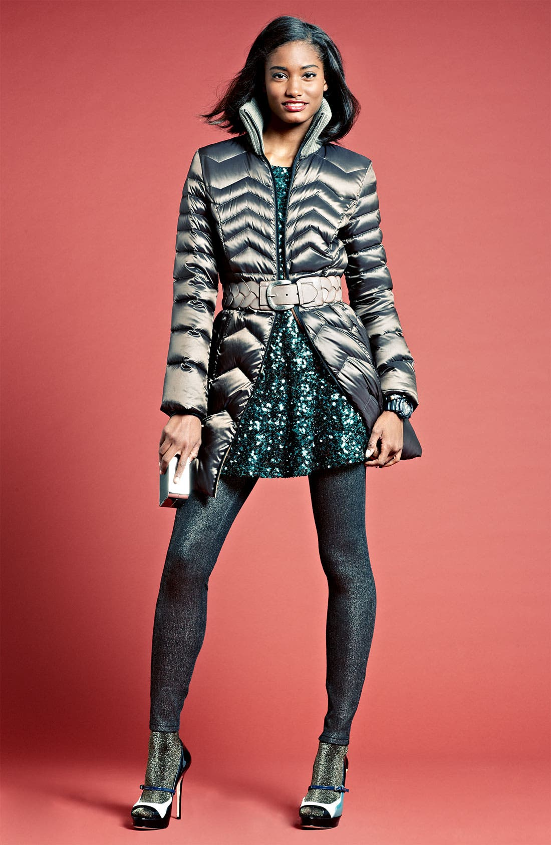 Main Image - Bernardo Coat, French Connection Dress & Commando Tights