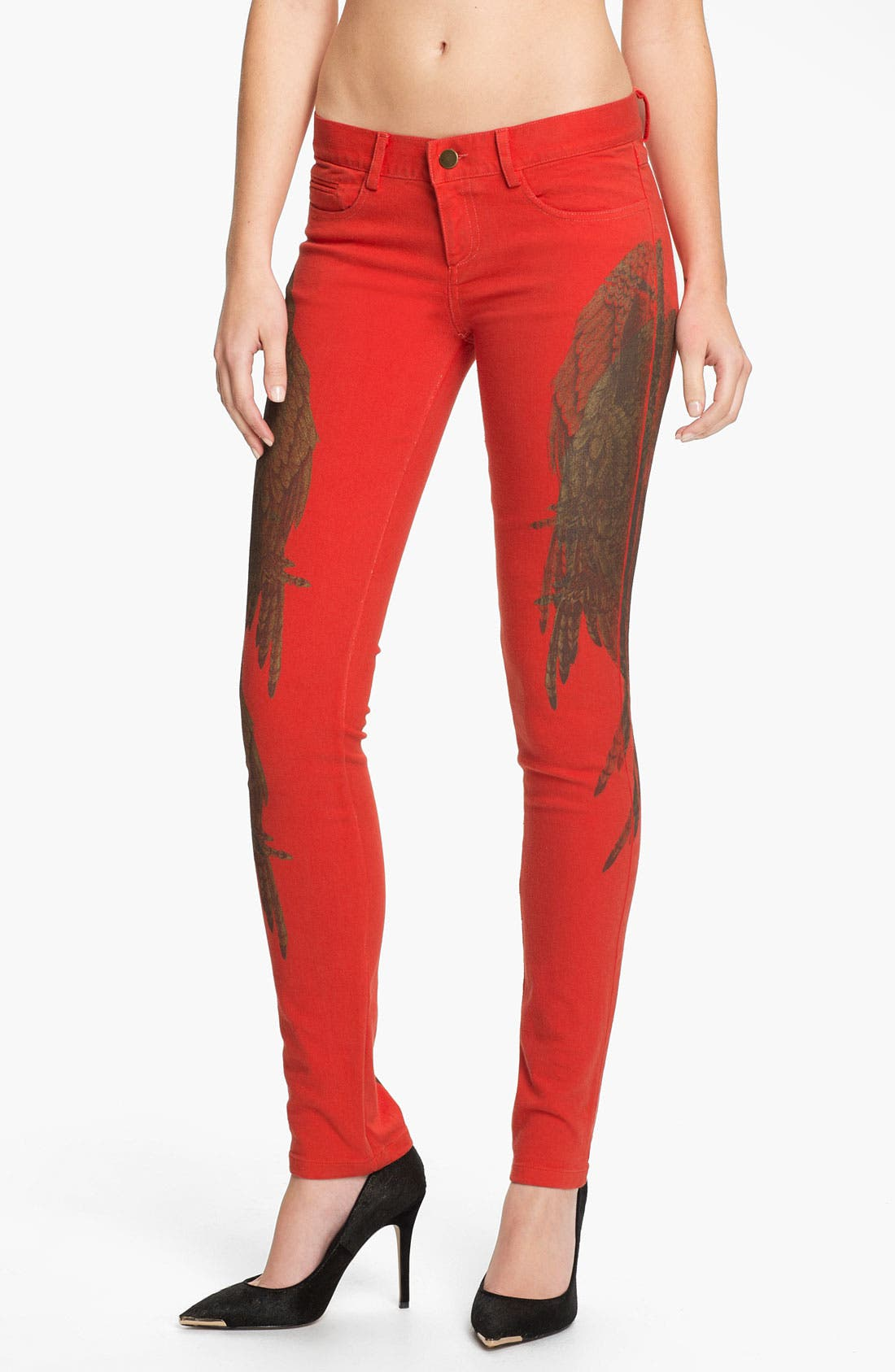 Alternate Image 1 Selected - Haute Hippie Feather Print Skinny Jeans