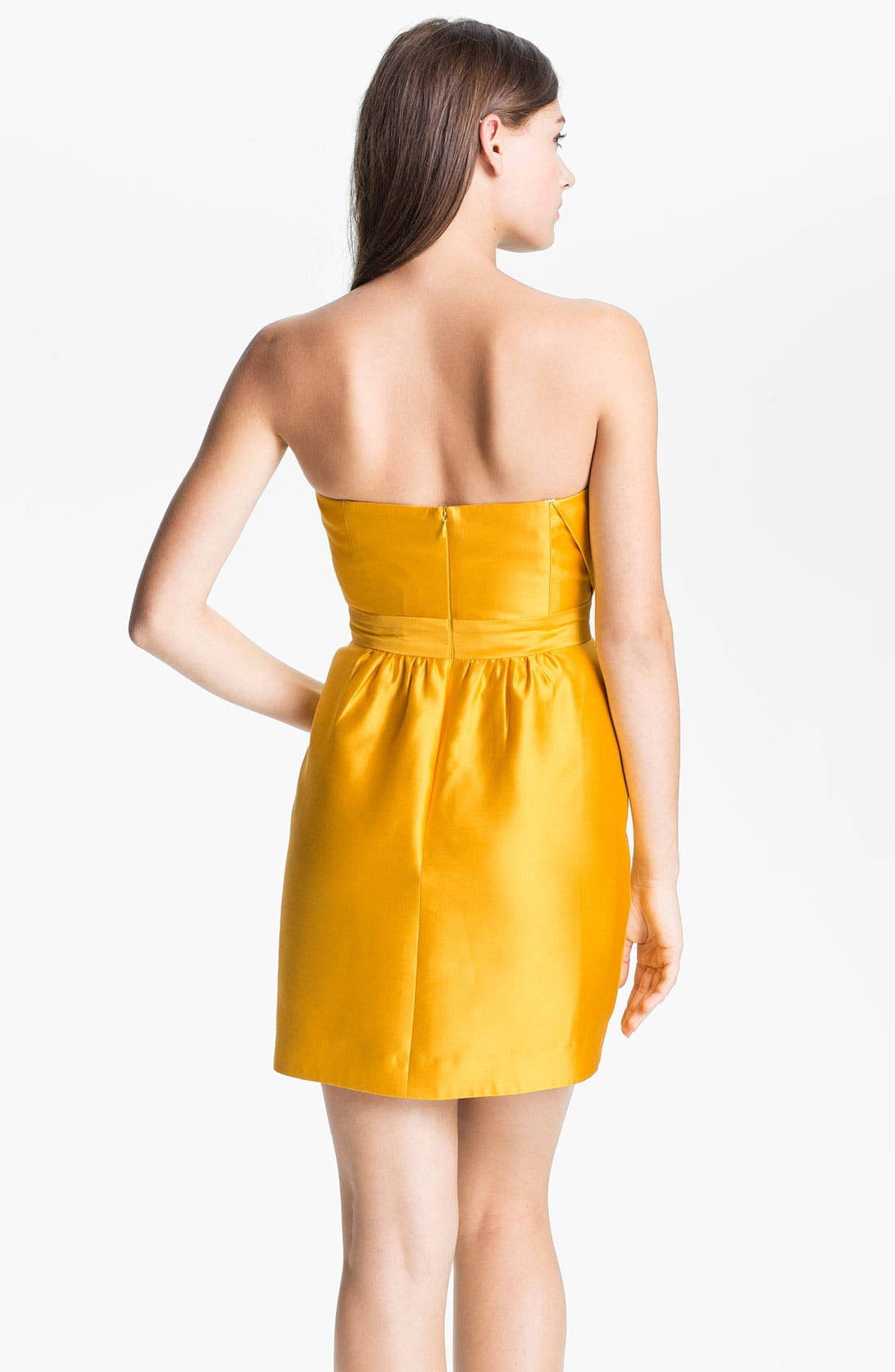 Alternate Image 2  - Shoshanna Strapless Pleat Detail Silk Sheath Dress