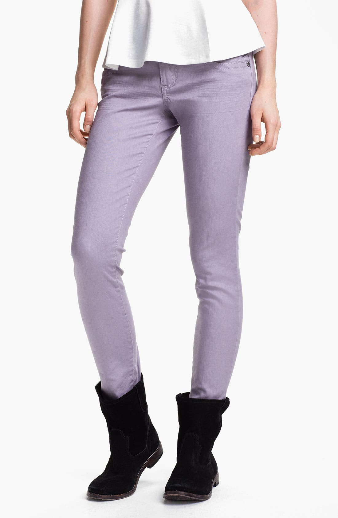 Alternate Image 2  - Jolt Colored Stretch Denim Skinny Jeans (Juniors)