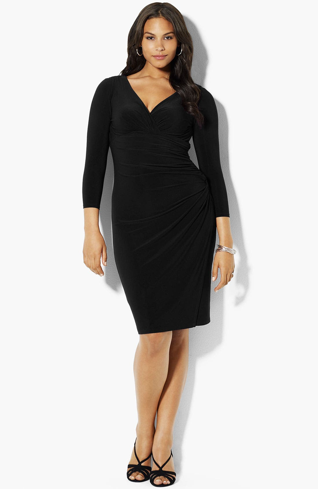 Main Image - Lauren Ralph Lauren Surplice Matte Jersey Dress (Plus)