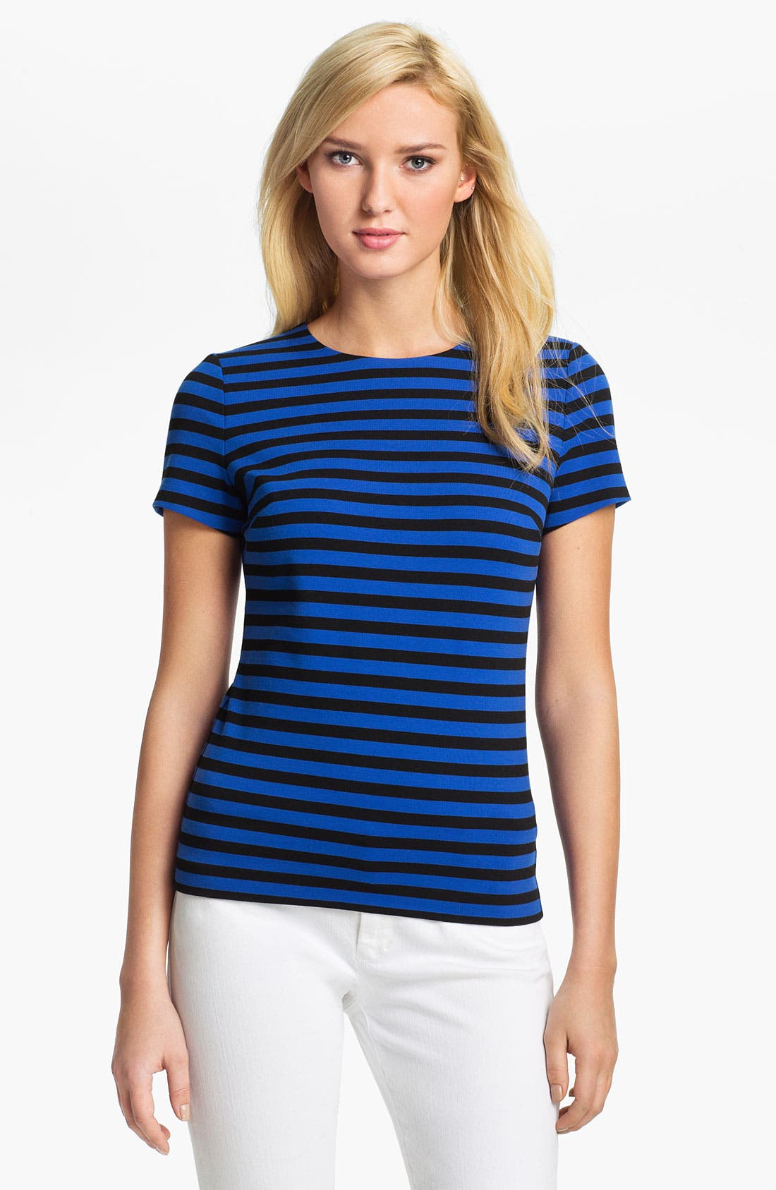 Alternate Image 1 Selected - MICHAEL Michael Kors Short Sleeve Stripe Top
