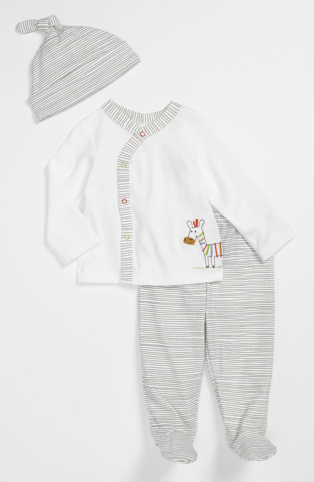 Alternate Image 1 Selected - Offspring Top, Footed Pants & Hat (Infant)
