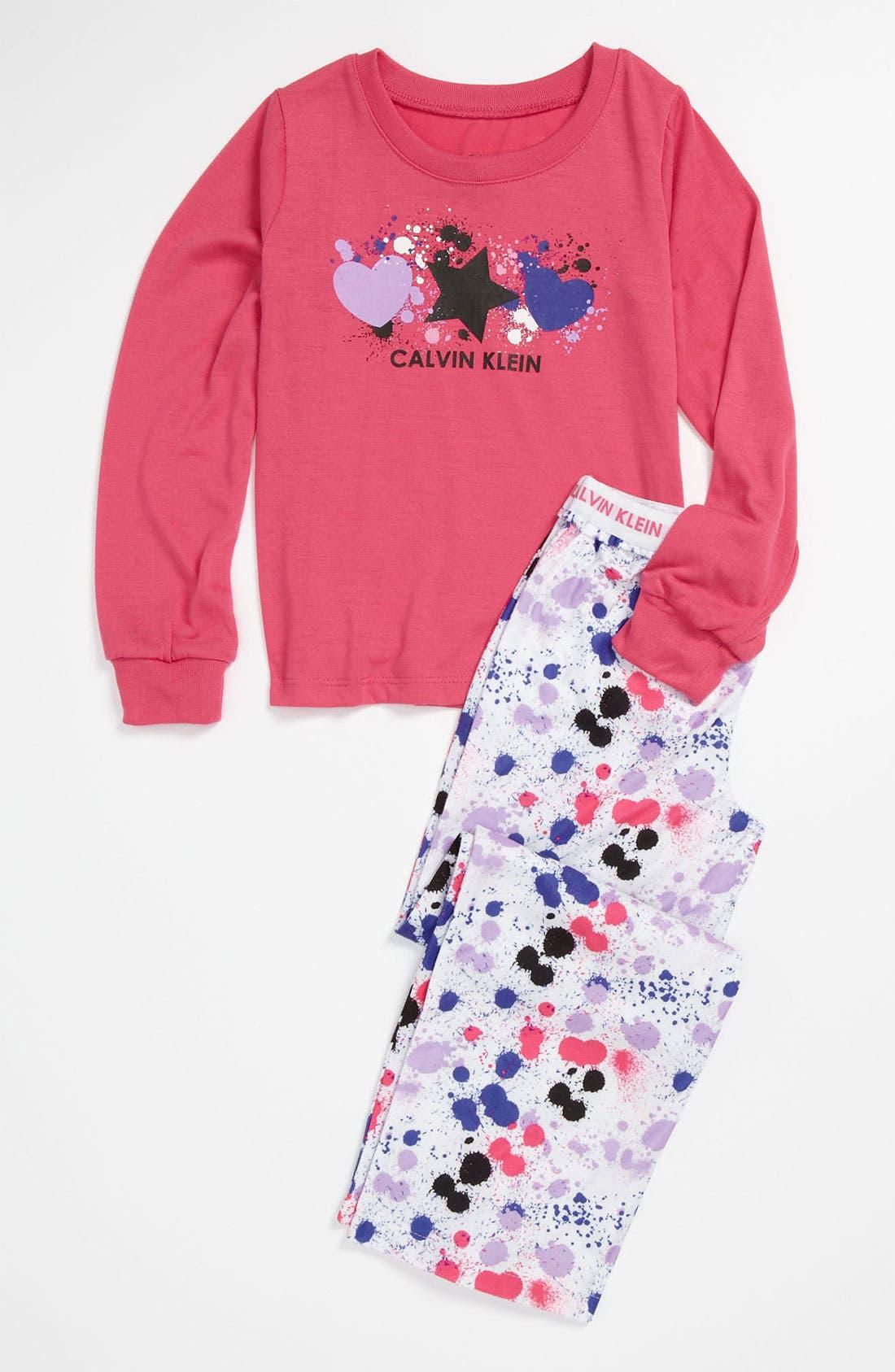 Alternate Image 1 Selected - Calvin Klein Knit Top & Pants Set (Little Girls & Big Girls)