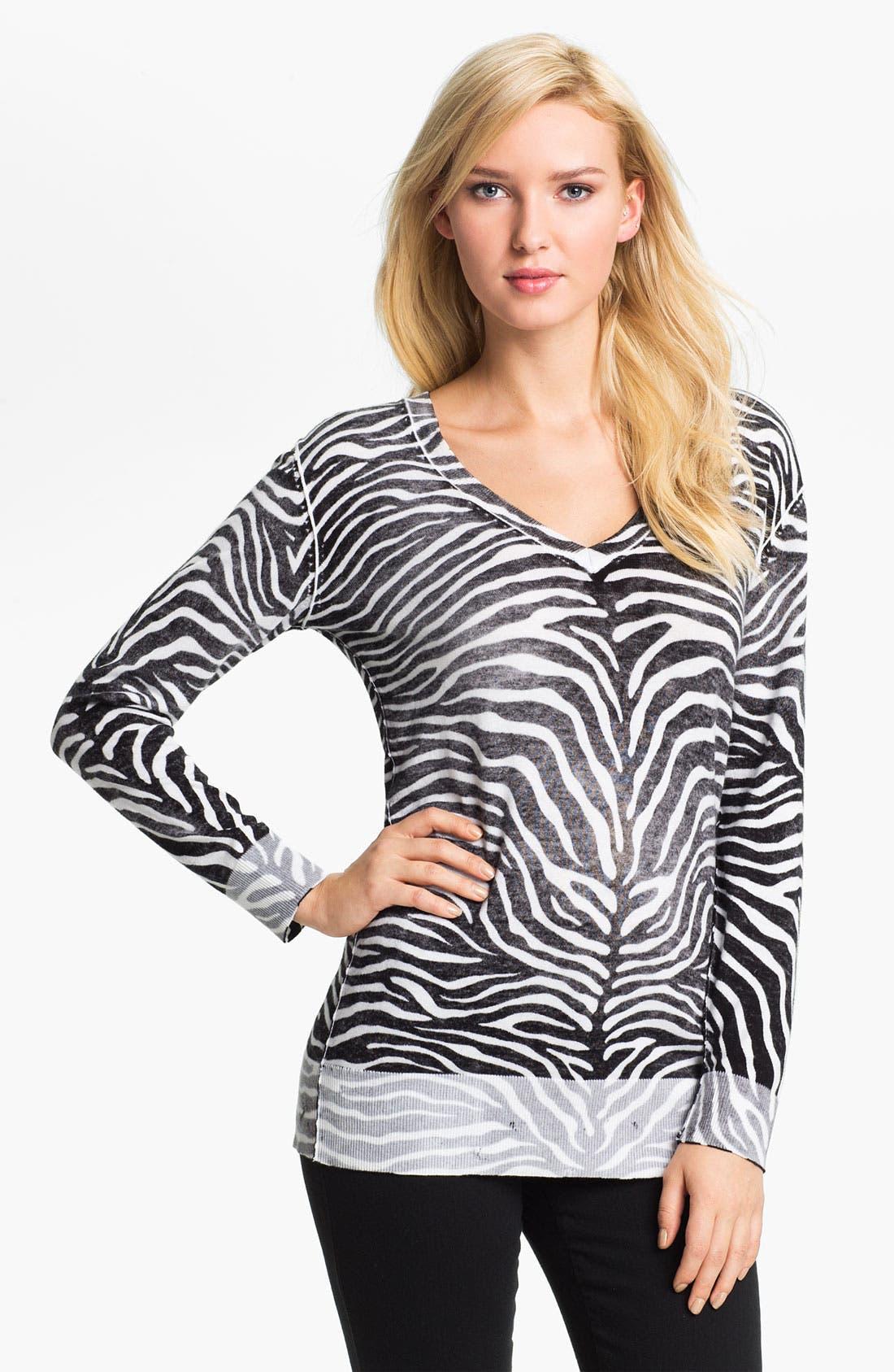 Main Image - MICHAEL Michael Kors Zebra Print V-Neck Sweater