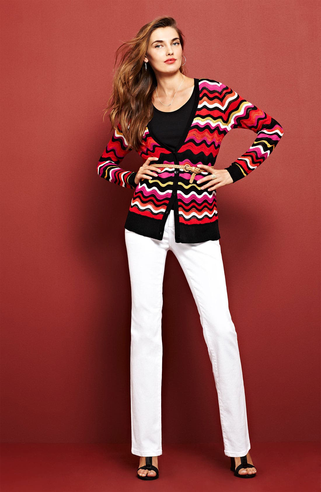 Alternate Image 1 Selected - Chaus Cardigan, Nic + Zoe Tank & NYDJ 'Marilyn' Jeans