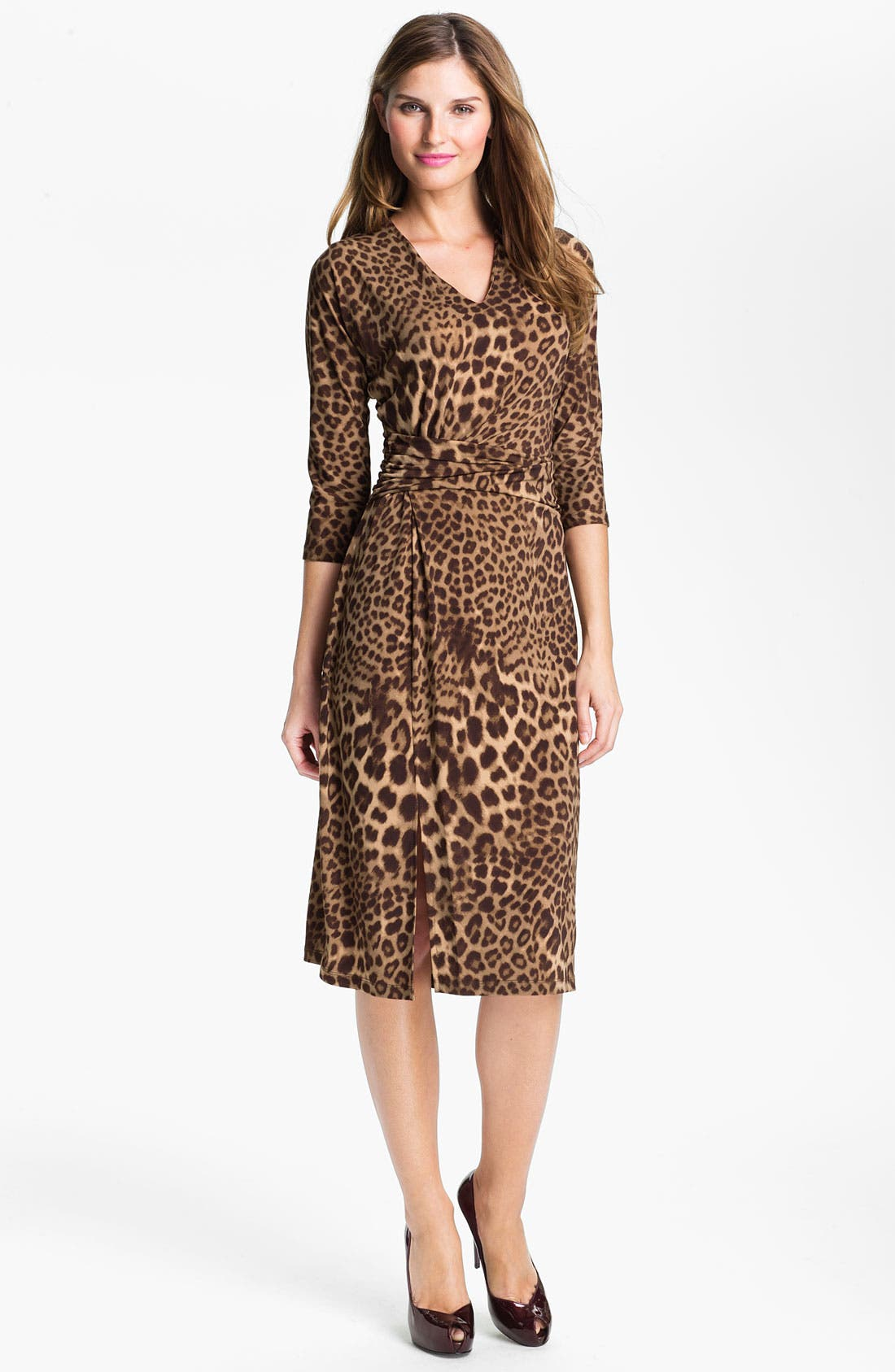 Main Image - Anne Klein Leopard Print V-Neck Dress (Online Exclusive)