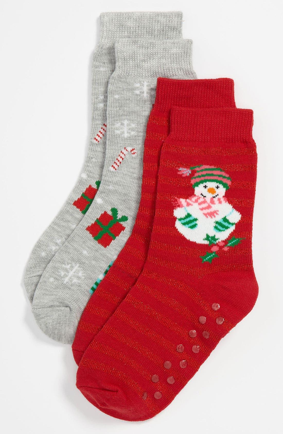 Alternate Image 1 Selected - Nordstrom 'Snowman' Socks (2-Pack) (Walker, Toddler, Little Kid & Big Kid)